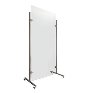Mobiele hygiëne beschermingswand met rollen RVS design 841