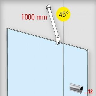 RVS design douchewand stabilisatie set 6019, L 1000 mm, muur aansluiting 45°