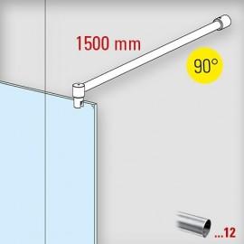 Chroom design douchewand stabilisatie set 6022, L 1500 mm, muur aansluiting 45°