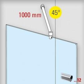 Chroom design douchewand stabilisatie set 6019, L 1000 mm, muur aansluiting 45°