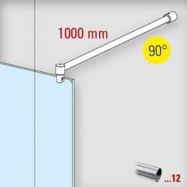 Chroom design douchewand stabilisatie set 6018, L 1000 mm, muur aansluiting 90°