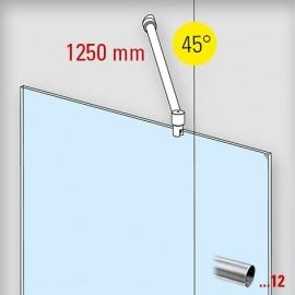 RVS design douchewand stabilisatie set 6021, L 1250 mm, muur aansluiting 90°