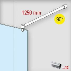 RVS design douchewand stabilisatie set 6020, L 1250 mm, muur aansluiting 90°
