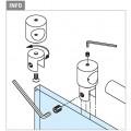 Chroom design buishouder, open, Ø 19 mm, voor glasdikte 6 - 10 mm.